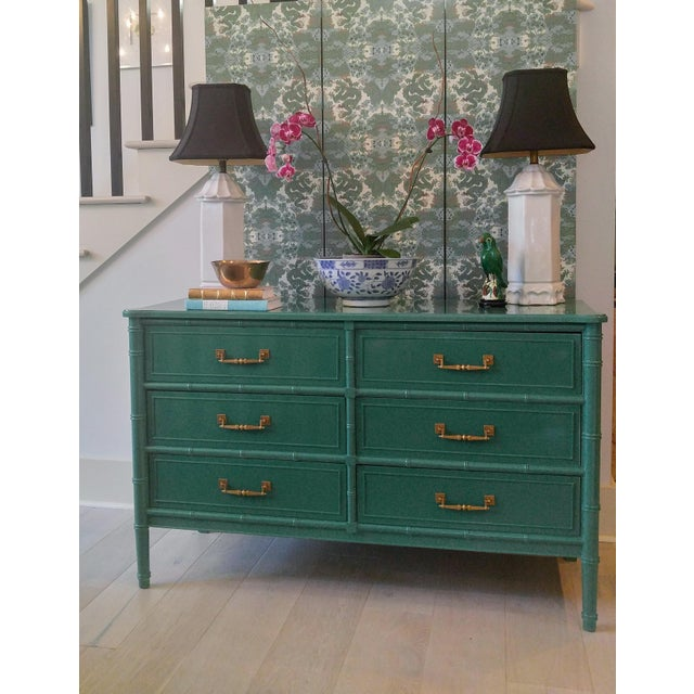 Henry Link for Dixie Green Faux Bamboo Dresser - Image 9 of 10