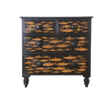 19th Century Victorian Decoupage Fish Chest of Drawers