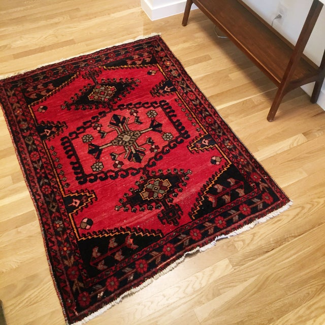 Image of Vintage Hand-Knotted Red Rug - 3′8″ × 4′10″