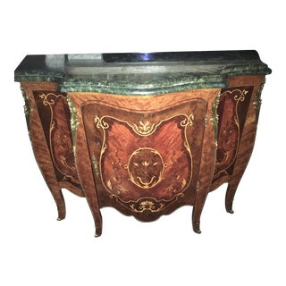 Louis XVI Style Inlaid Wood Marble Top Credenza