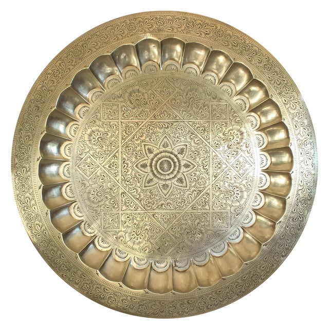 Image of Vintage Persian Engraved Brass Tray
