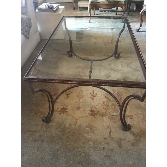 Large Rectangular Iron Glass Top Coffee Table - Image 4 of 4