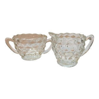 Vintage Glass Hobnail Sugar & Creamer - A Pair