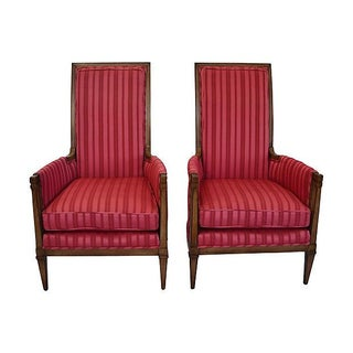 Midcentury High-Back Armchairs - Pair