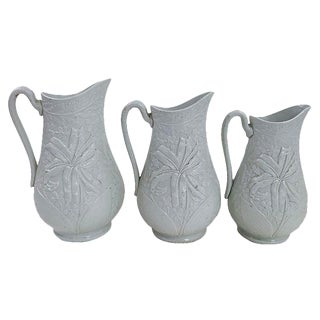 Antique English Salt Glazed Jugs - Set of 3