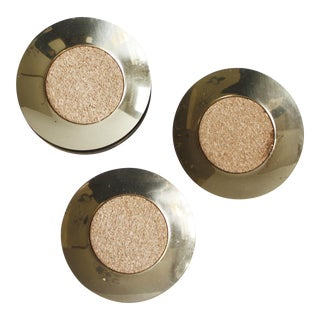 Set of 8 Brass & Cork Coasters Round