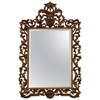 19th Century Carved Giltwood Beveled Wall Mirror