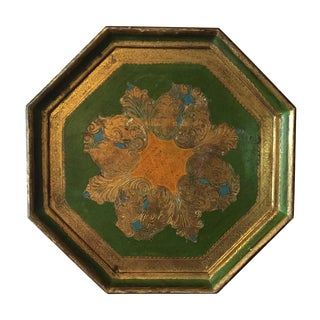 Octagon Shaped Italian Florentine Wood Tray
