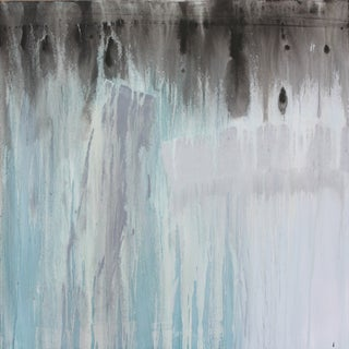Powder Blue, Black & Gray Abstract Painting