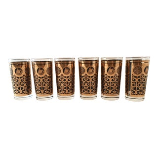 Mid-Century Black & Gold Tumblers - Set of 6