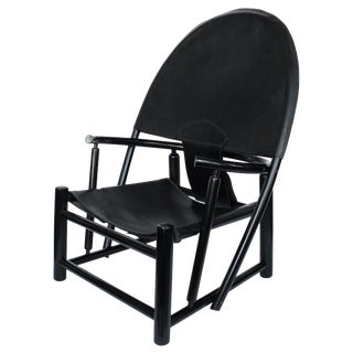 """Hoop"" Black Leather Lounge Chair by Toffoloni and Palange"