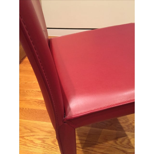 Red Leather Dining Chairs - Set of 10 - Image 4 of 8