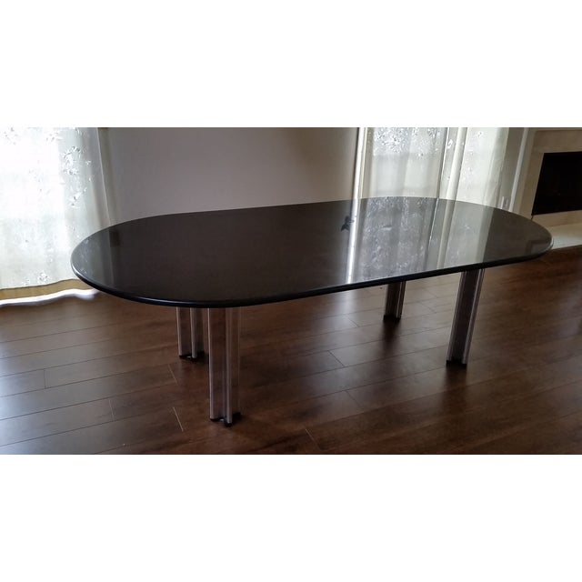 1980's Knoll Racetrack Black Marble Table - Image 4 of 7