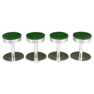 Four Joan Casas Y Ortinez for Indecasa Aluminum Tabourets
