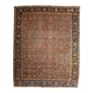 Antique Hand Knotted Wool Persian Hariz Rug - 8′ × 9′10″