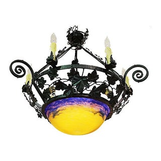 French Mueller Freres Art Glass Fixture