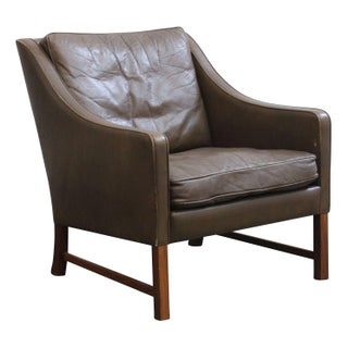 Danish Tall Back Leather Lounge Chair