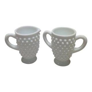 Fenton Milk Glass Hobnail Creamer and Sugar Bowl