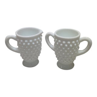 Fenton Milk Glass Hobnail Creamer and Sugar Bowl