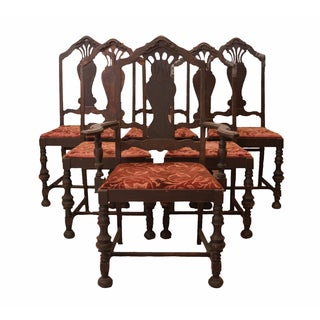 Distressed 1930s Gothic Spanish Chairs - Set of 6