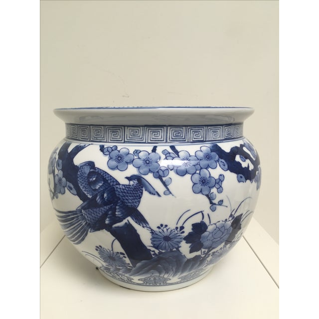 Blue and White Oriental Style Porcelain Planter - Image 2 of 5