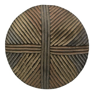 African Tribal Carved Wood Round Zulu Shield