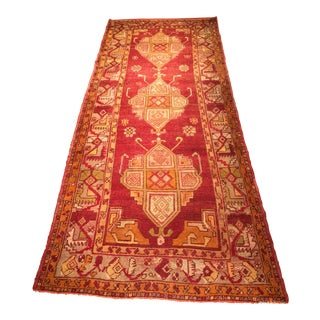 "Vintage Turkish Oushak Runner - 3'11"" x 9'5"""