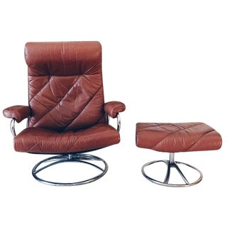 Ekornes Leather Recliner & Ottoman