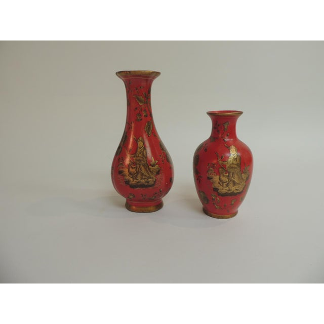 Decorative Coral & Gold Chinoiserie Vases - A Pair - Image 4 of 5