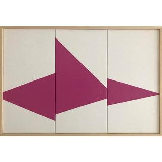 "Jason Trotter Original Acrylic Painting ""Magenta on Point Triptych Jet0453"""