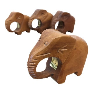 Carved Wood Elephant Napkin Rings - Set of 4