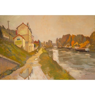 Antique French River Scene Painting by Humbert Curcuru