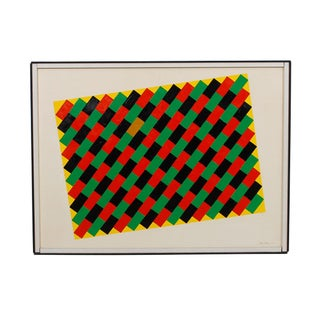 "Graphic ""Woven Paint"" Painting, Signed 1969"