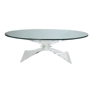 Lion in Frost Lucite Butterfly Coffee Table