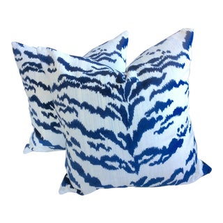 Blue & Ivory Velvet Tiger Pillows - A Pair