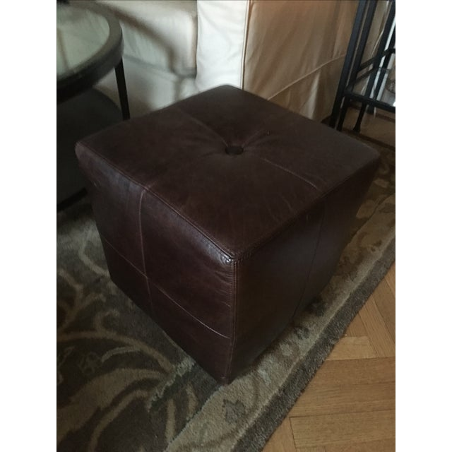 Pottery Barn Leather Ottomans 2 Chairish