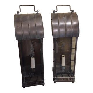 Vintage Pair of Traditional Industrial Black Brass Lanterns
