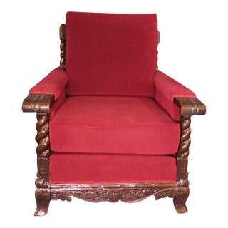 19th Century Antique Oak Club Chair