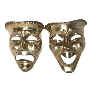 Vintage Comedy & Tragedy Wall Hanging Masks - A Pair