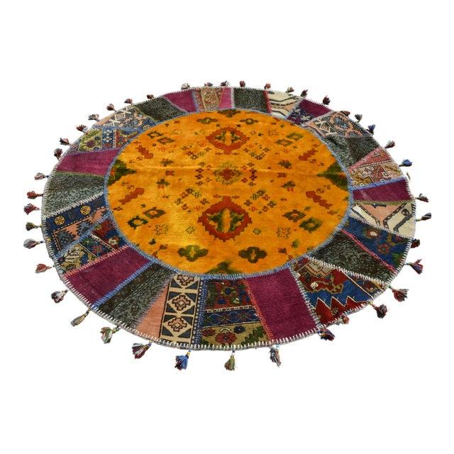 Turkish Handmade Patchwork Round Rug - 6′5″ × 6′5″ - Image 1 of 8