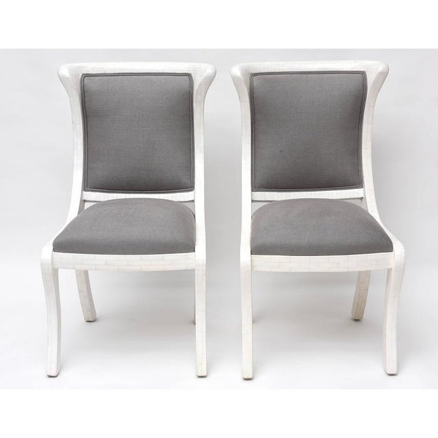 Tesselated Bone and Linen Side Chairs - Image 2 of 10