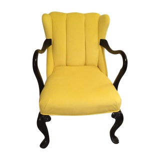 Custom Yellow Velvet Armchair