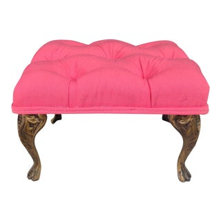 Hot Pink Linen & Brass Legs Petite Stool