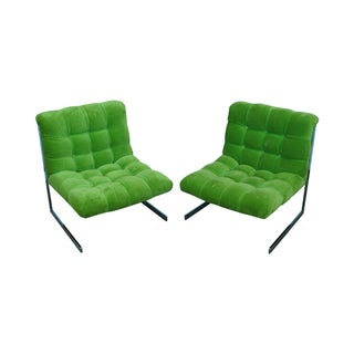 Vintage Green & Chrome Lounge Chairs - A Pair