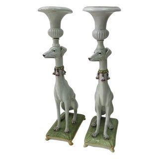Italian Hollywood Regency Whippet Planters - Pair