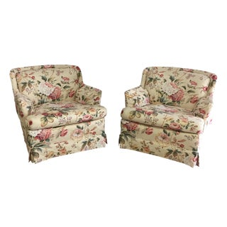Globe Floral Chairs - A Pair