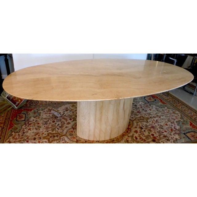 Italian mid century oval travertine dining table chairish for Travertine dining table