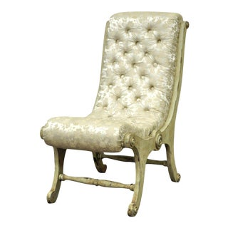 Antique Small Victorian Tufted Carved Wood Distress Painted Slipper Accent Chair