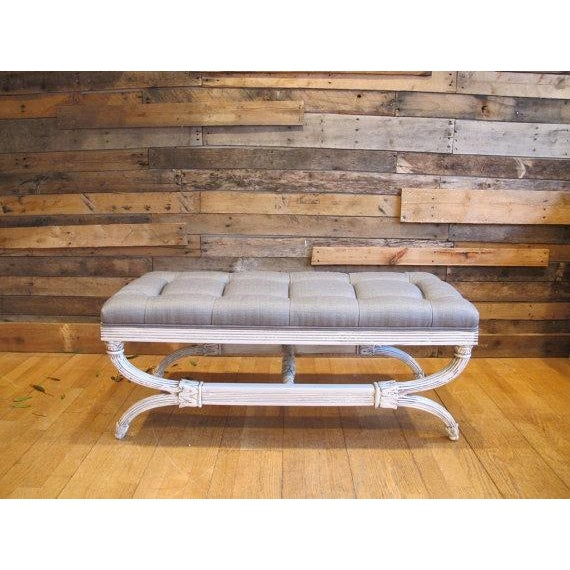 Antique Gray Tufted Ottoman Bench, Coffee Table