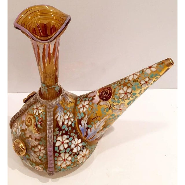 Vintage Moser Style Amber Hand-Painted Glass Vino Bottle - Image 2 of 9